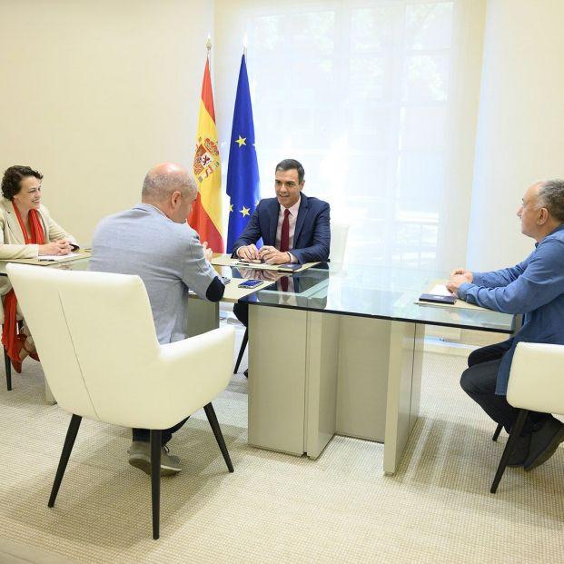 Pedro Sanchez, Magdalena Valerio, Pepe Álvarez y Unai Sordo