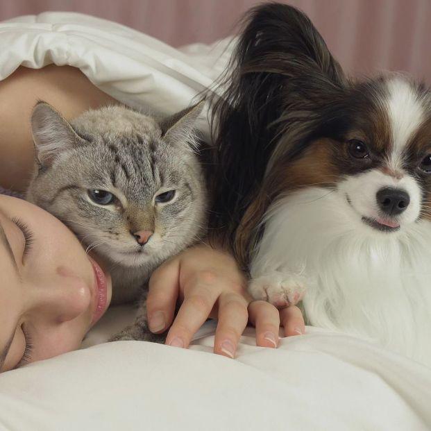 Mujer durmiendo con su perro y gato