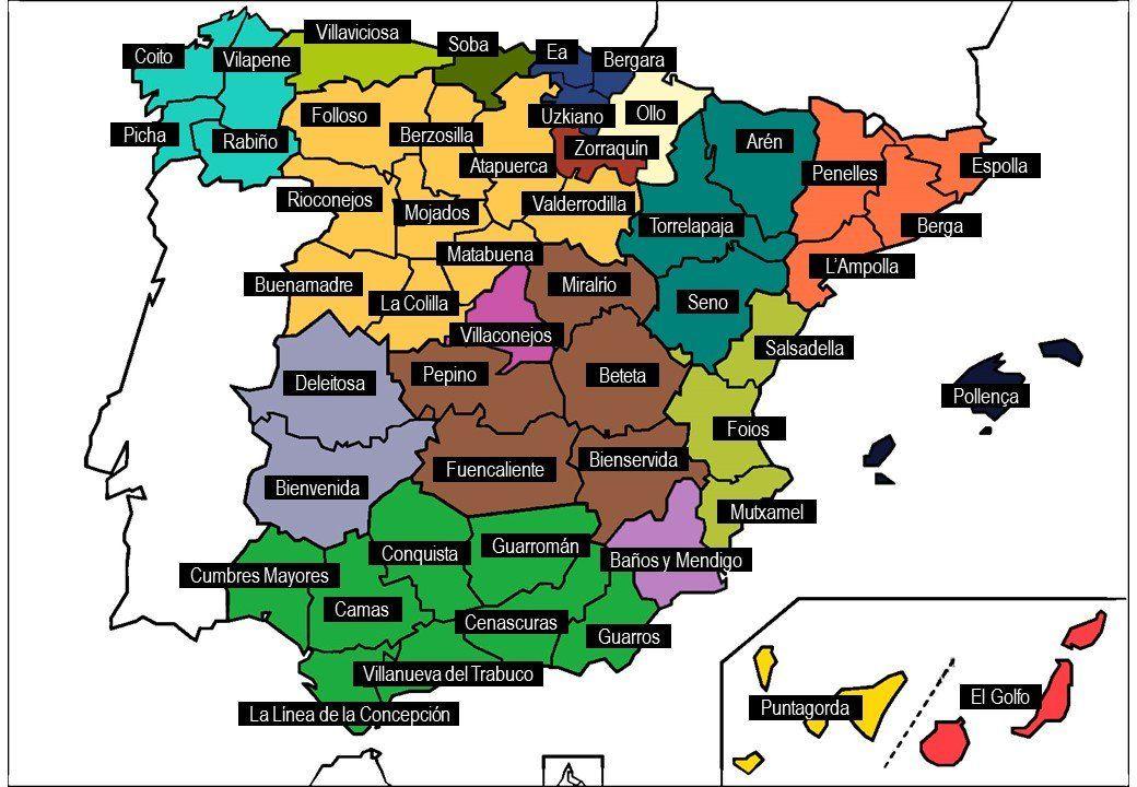 Un Mapa De España Con Nombres De Pueblos Guarretes Triu