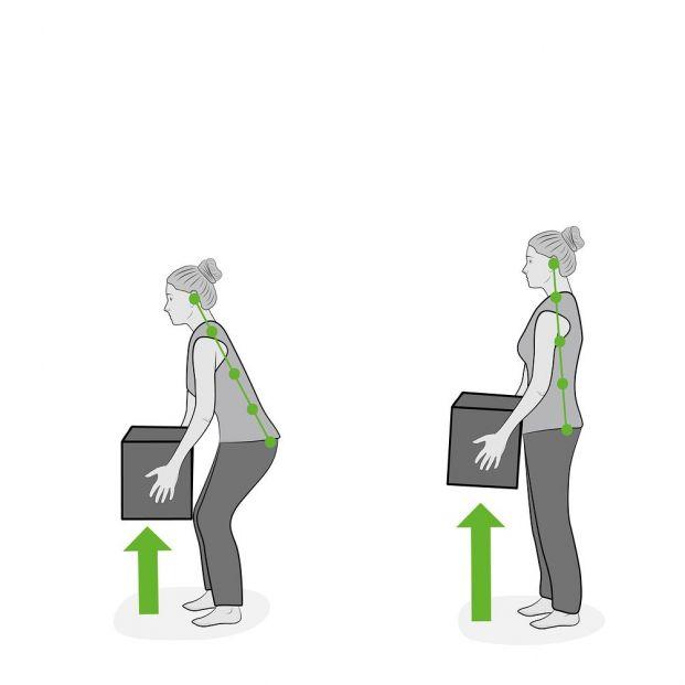 Consejos para levantar o cargar peso sin dañar tu columna