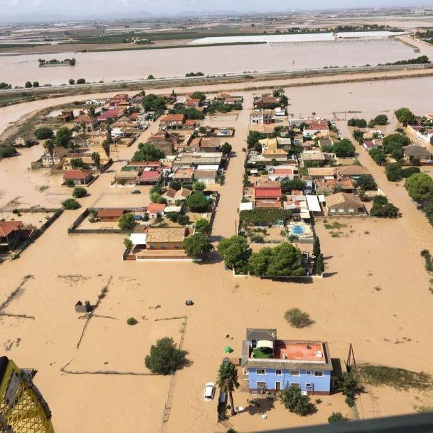 Imagen tomada este viernes 13 de septiembre por el helicóptero de la Dirección General de Seguridad Ciudadana y Emergencias en Los Alcázares
