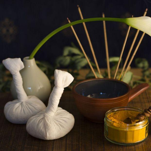Cataplasma con plantas medicinales