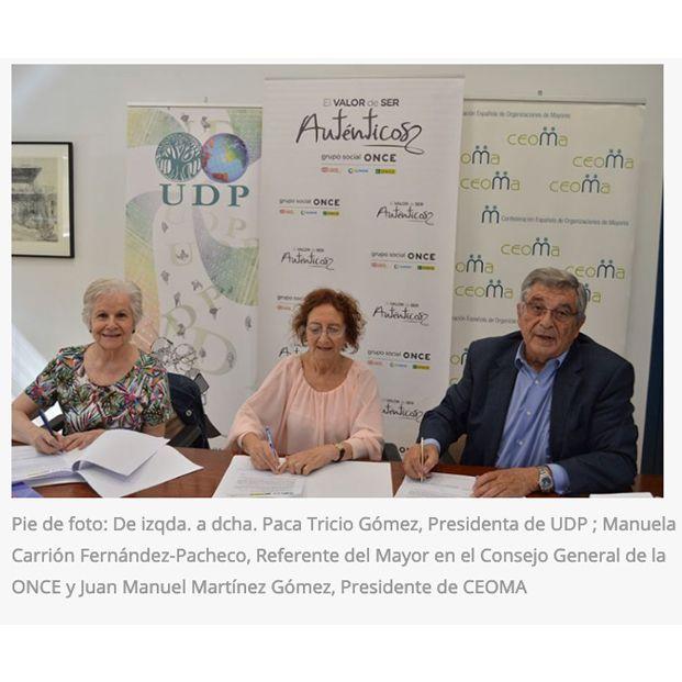 CEOMA, UDP y ONCE Firman un Acuerdo de Colaboración para crear una Plataforma Estatal de Organizaciones de Mayores y Pensionistas