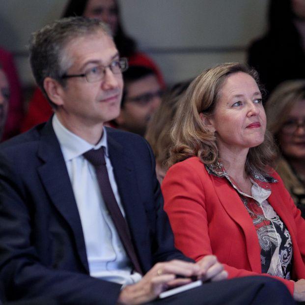 Nadia Calviño y Pablo Hernandez de Cos en el Día de la Educación Financiera