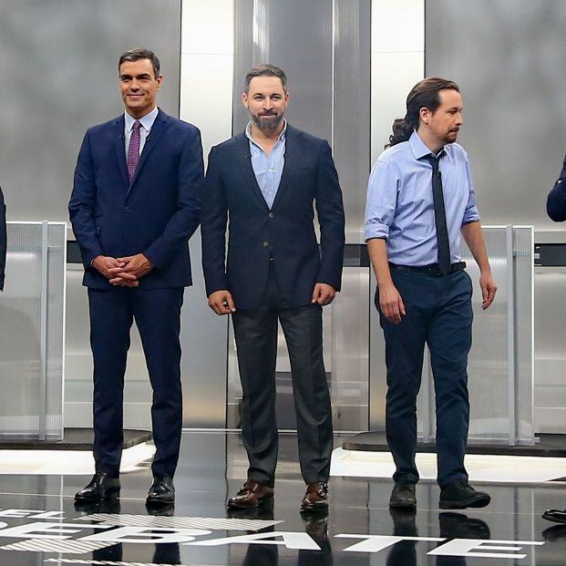 Los candidatos a la presidencia del Gobierno el proóximo 10 N Pablo Casado (PP); Pedro Sánchez (PSOE); Santiago Abascal (VOX); Albert Rivera (Ciudadanos); Pablo Iglesias (Unidas Podemos)  antes del debate elector