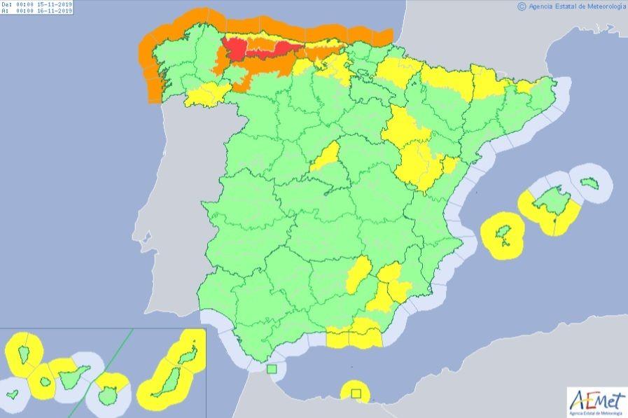 EuropaPress 2488226 Mapa de España que muestra los avisos de la AEMET para este viernes 15 de noviembre de 2019