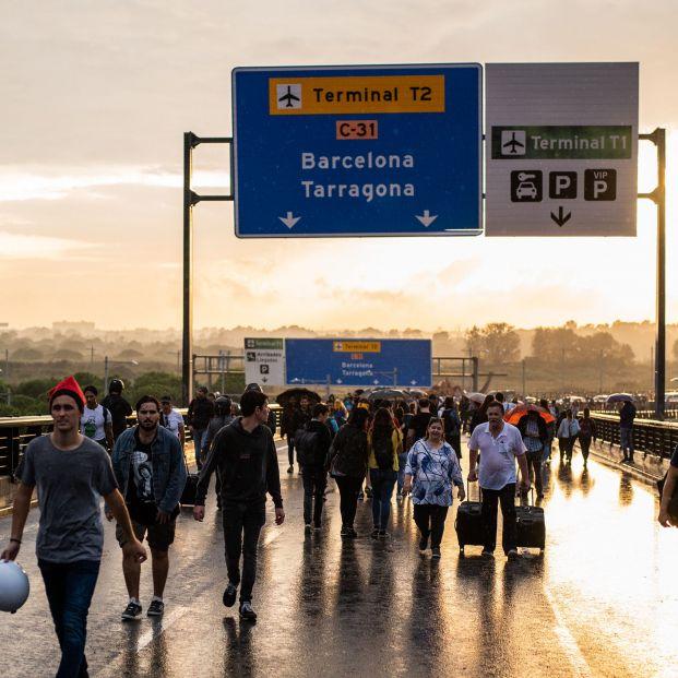 Protestas en el Aeropuerto de El Prat (Barcelona)