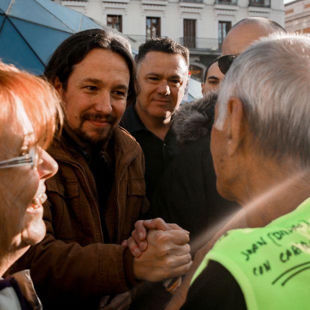 Pablo Iglesias asiste a la marcha de pensionistas en la Puerta del Sol de Madrid (España) a 15 de octubre de 2019
