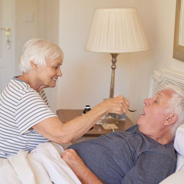 Persona mayor con broncoaspiración