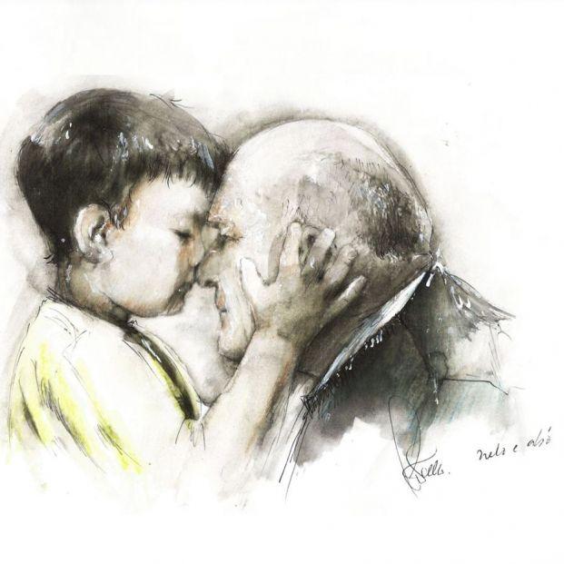 Neto e avó (nieto y abuelo), dibujo de Miguel Ángel Martínez Coello