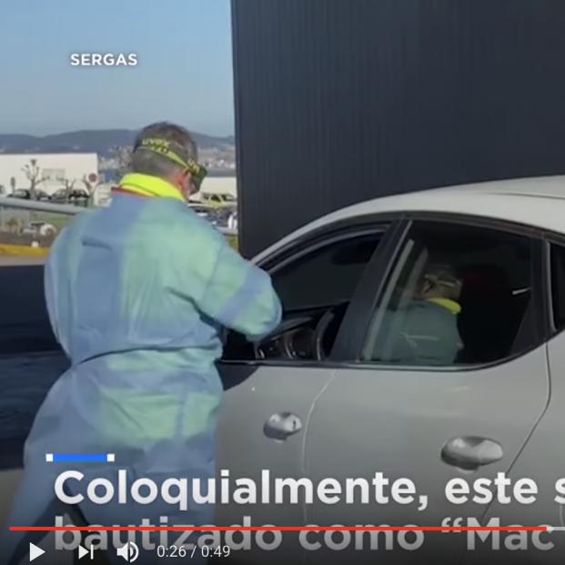 El sistema de un hospital de Vigo para agilizar la detección de positivos: Test sin bajar del coche. Foto: Fotograma de vídeo publicado por Euronews
