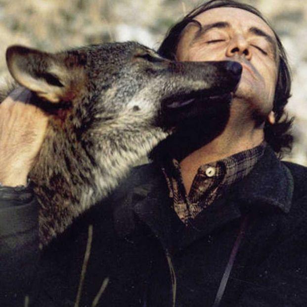 Félix Rodríguez de la Fuente con un lobo (RTVE)