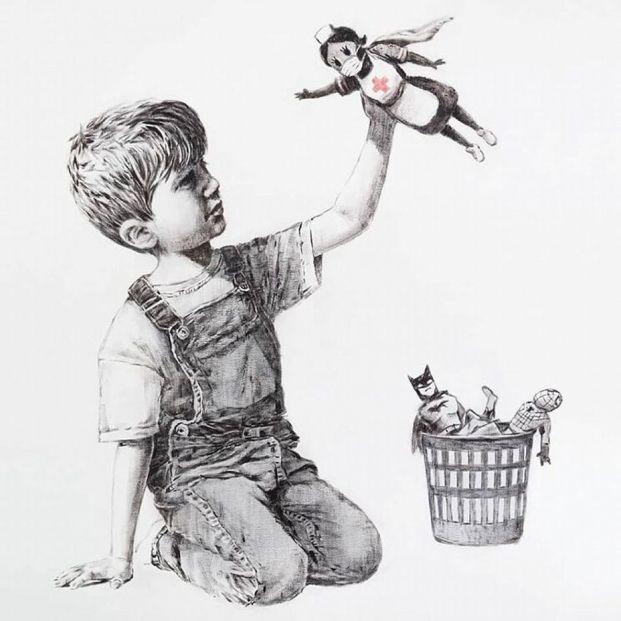 El emotivo homenaje de Banksy a los sanitarios, los superhérores del coronavirus