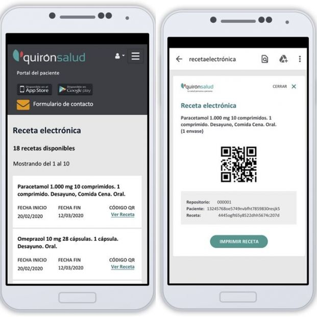 Receta electrónica privada en el portal Mi Quirónsalud