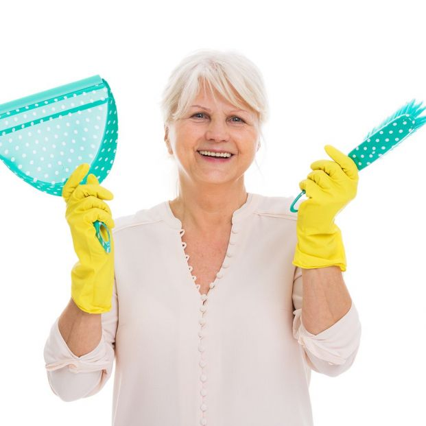 bigstock Senior woman with cleaning sup 182353021