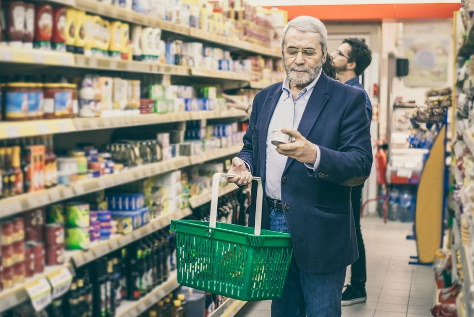 bigstock Mature Man Shopping In Grocery 362589883