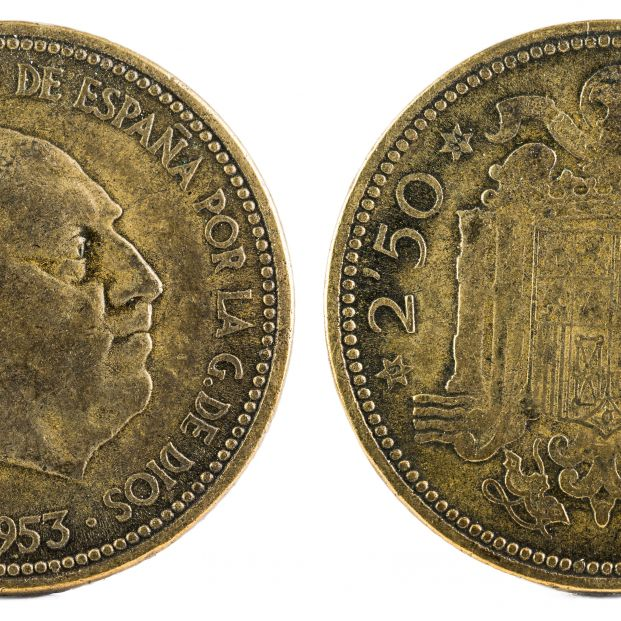 bigstock Old Spanish Coin Of   Peset 342104137