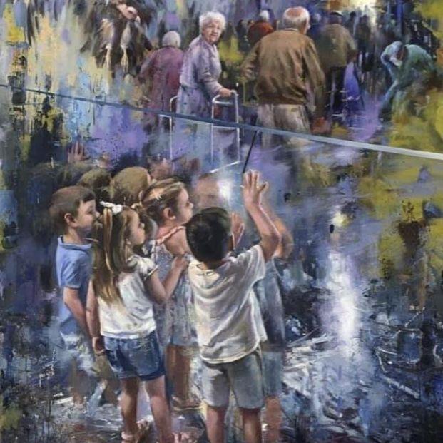 '¿Qué haremos sin ellos?': el cuadro solidario del pintor Juan Lucena dedicado a los mayores