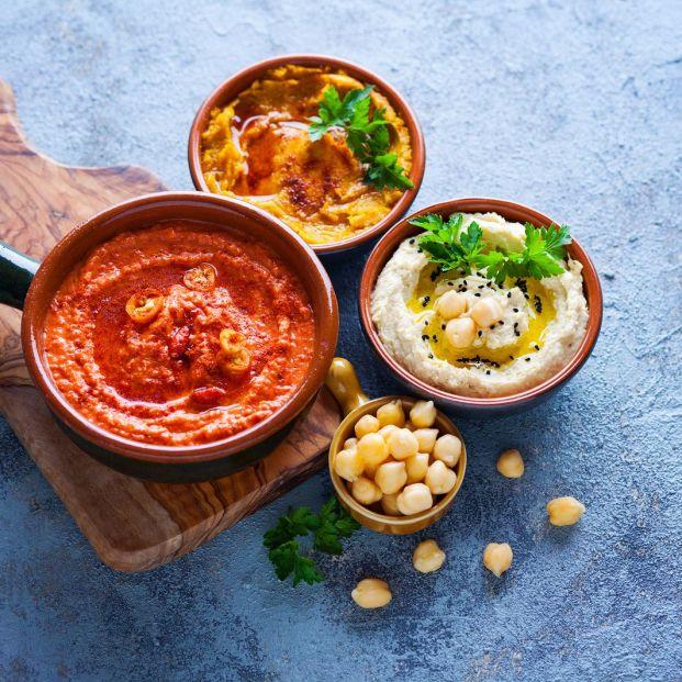 Cuatro deliciosas variedades de hummus (Bigstock)