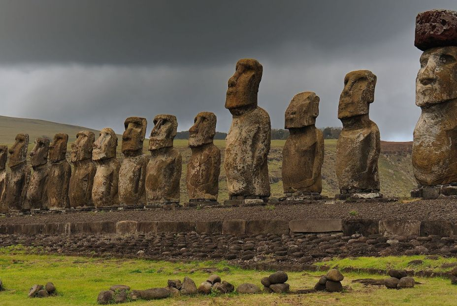 bigstock View Of Moai Statues Against C 374279227