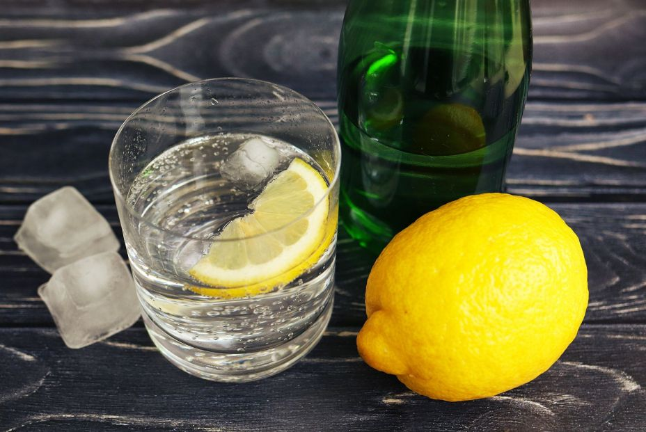 bigstock Soda Water With Lemon On A Woo 355831301