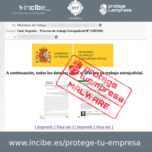 Malware: Cuidado con este correo del Ministerio de Trabajo