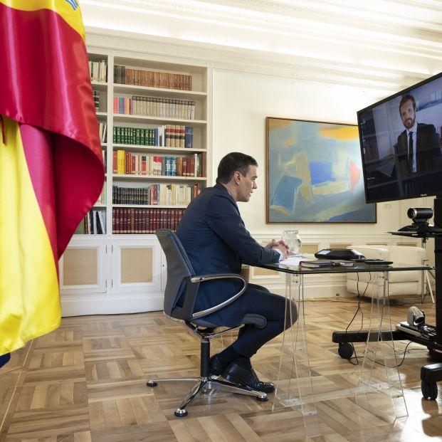 EuropaPress 2851220 presidente gobierno pedro sanchez videoconferencia presidente partido