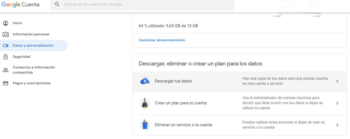 Captura Gmail descargar datos