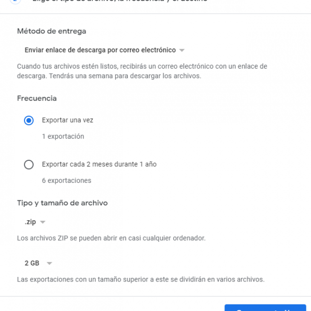 Captura copia seguridad Gmail exportacion