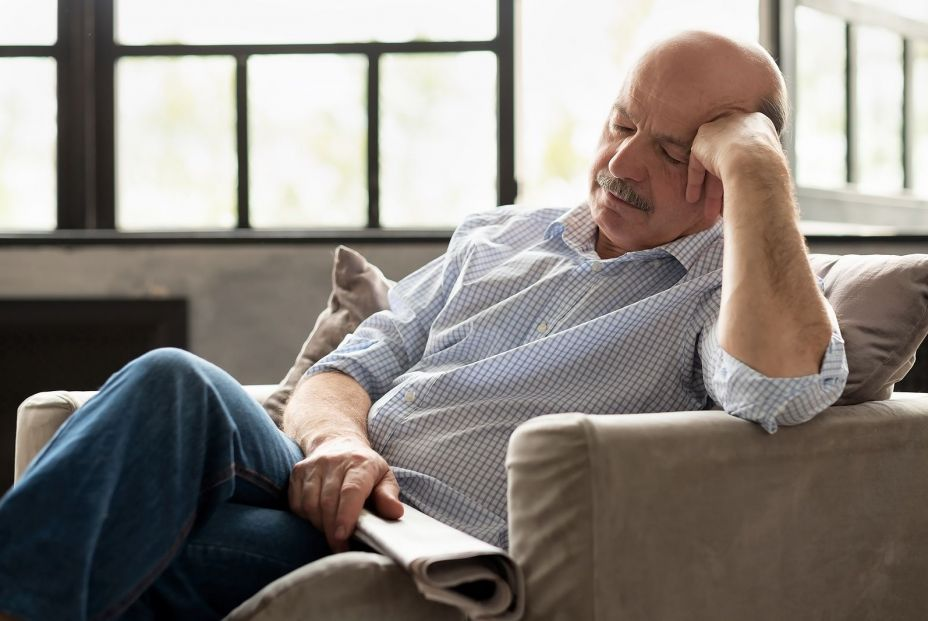 bigstock Tired Senior Hispanic Man Slee 320805376