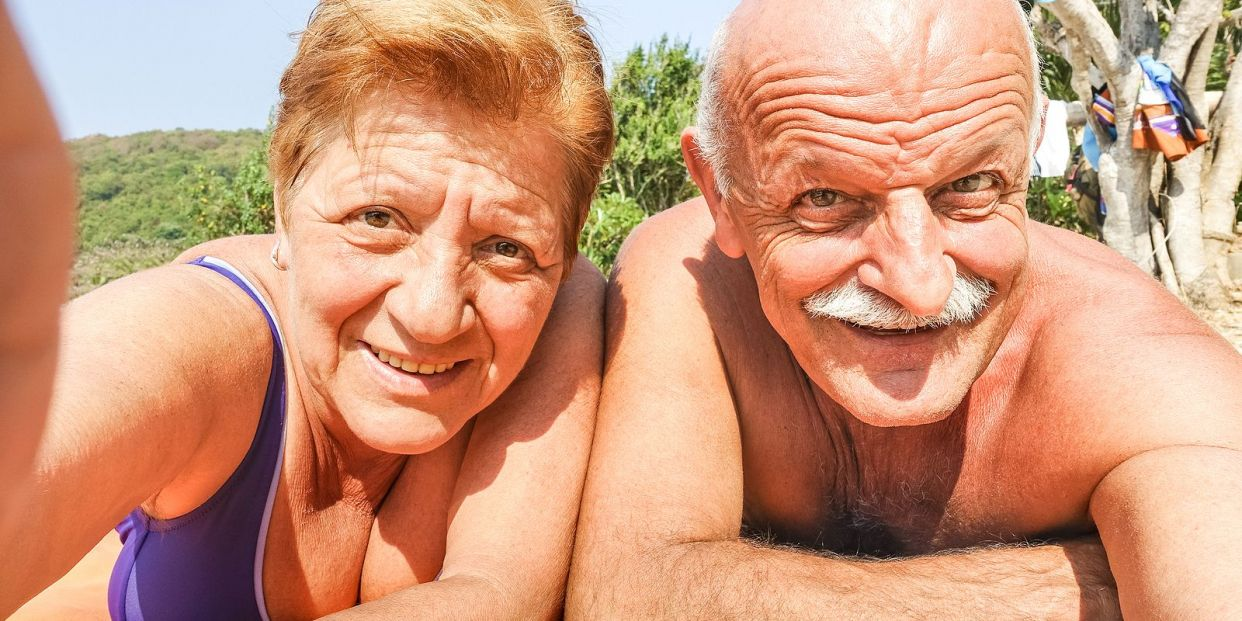 bigstock Senior Happy Couple Taking Sel 279373288