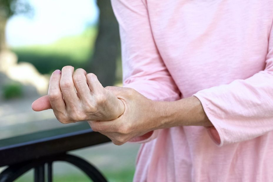 bigstock Old Woman Stretching Numb Arm  349835755