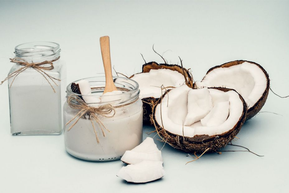 bigstock Parts Of Coconut On A Colored  374774842