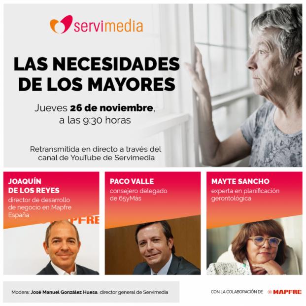 65Ymás, Servimedia y Mapfre analizan 'Las necesidades de los mayores' este 26 de noviembre
