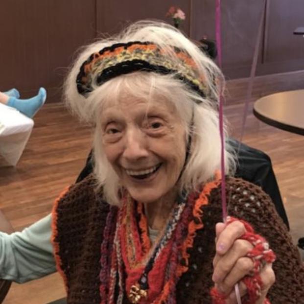 Angelina, la centenaria que ha conseguido vencer en dos ocasiones al coronavirus . Foto: Facebook North Westchester Restorative Therapy & Nursing Center @nwrtnc