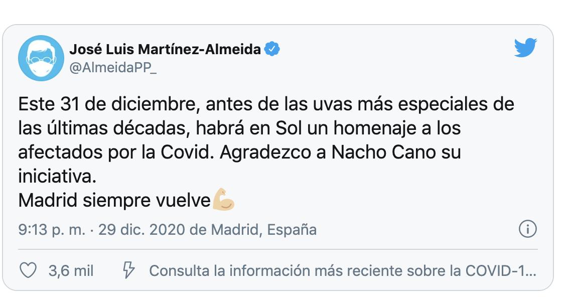 Twitter del alcalde de Madrid, José Luis Martínez-Almeida