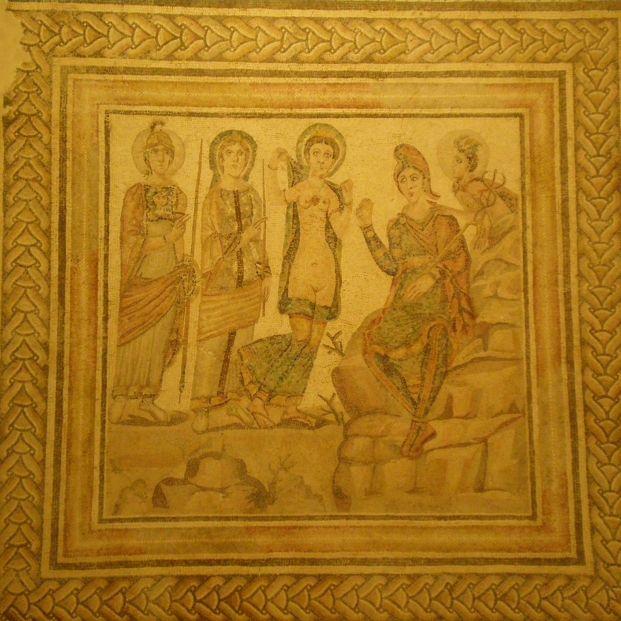 Mosaico de 'El Juicio de Paris' en el Museo Arqueológico de Sevilla