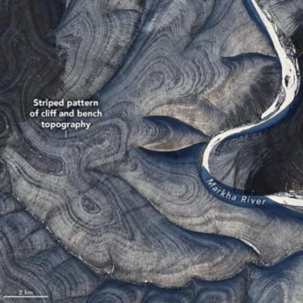 Científicos de la NASA localizan desde el espacio misteriosas rayas en colinas de Siberia. Foto: Europa Press