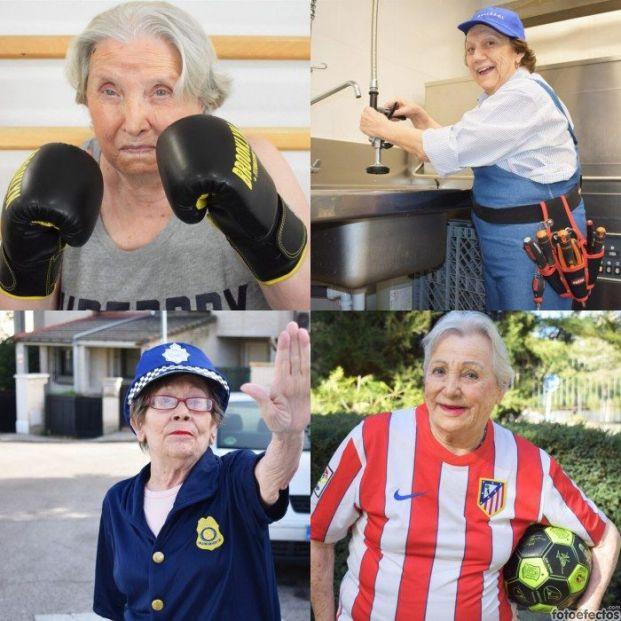 16 mayores reivindican el papel de la mujer vestidas de boxeadora, futbolista o militar