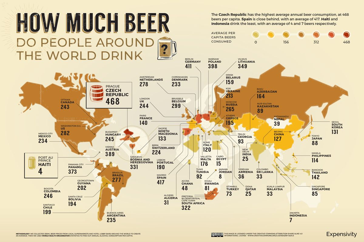 How Much Beer Do People Drink Map avg consumed. Imagen: Expensivity