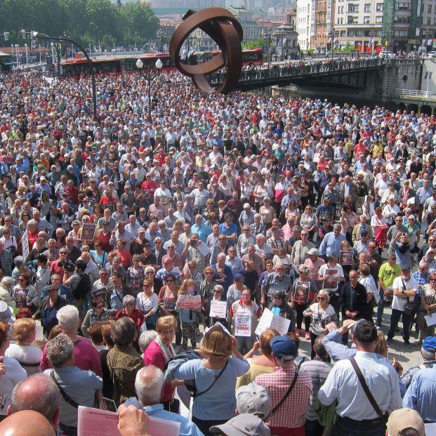 Manifestación de pensionistas en Euskadi. No se ha avanzado nada en los últimos cinco años en muchos problemas que acucian a los mayores