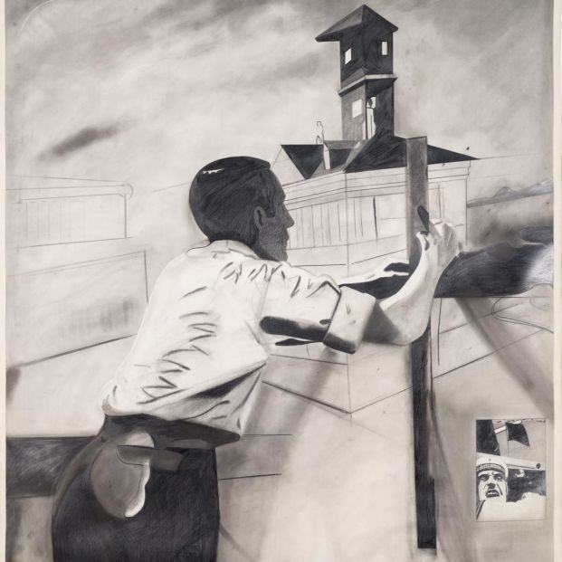 Pintura española en la colección del IVAM. Eduardo Arroyo : Projet pour une future ambassade de l'URSS à Madrid, 1971.