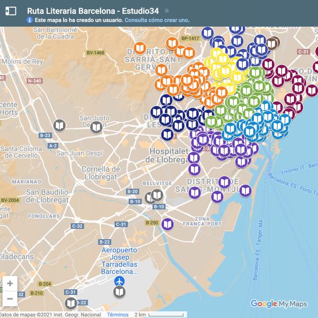 mapa literario interactivo de Barcelona