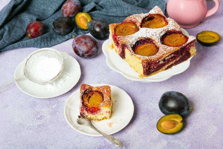 bigstock Tasty Plum Cake With Pieces Of 373376395