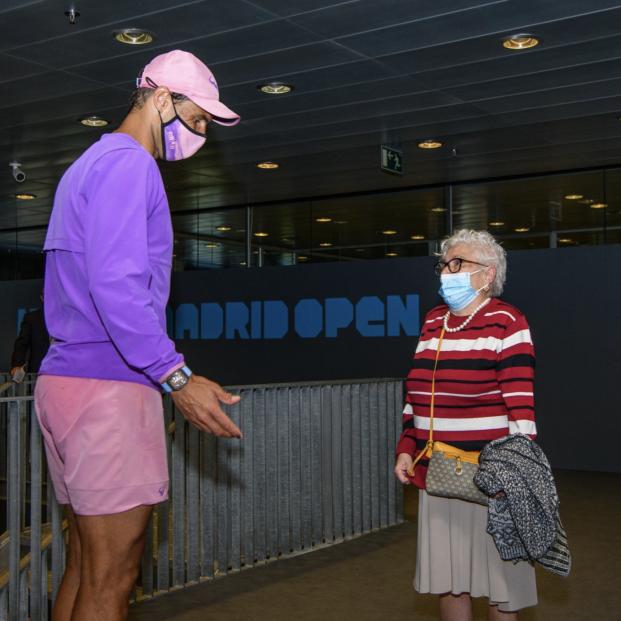 Manuela, 95 años y con principio de Alzheimer, cumple su sueño gracias a su nieto: conocer a Nadal (Foto: Instagram de Mutua Madrid Open)