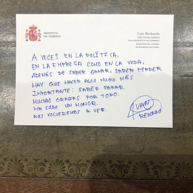 Carta Despedida Iván Redondo