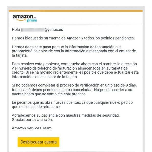 Correo electrónico 'phishing' que suplanta la identidad de Amazon. (Foto: ESET)